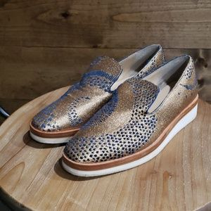 Free People rose gold blue snake eyes loafers 8